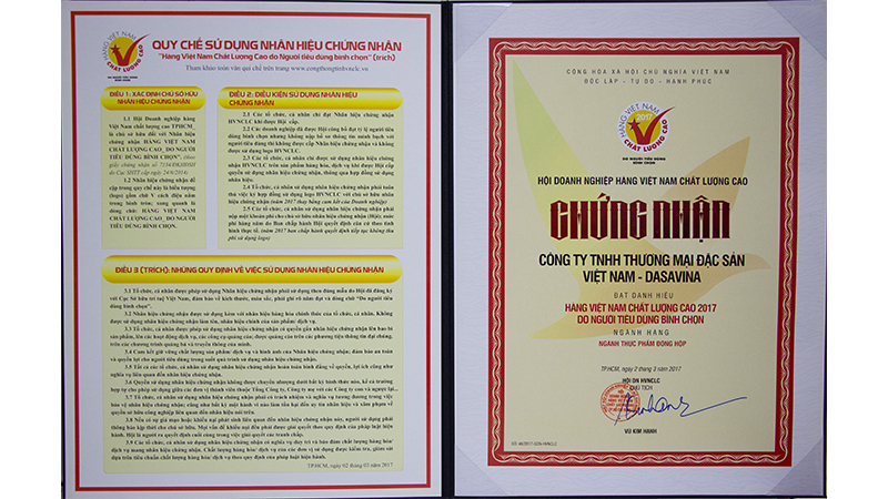 Chứng nhận hàng Việt Nam chất lượng cao 2017