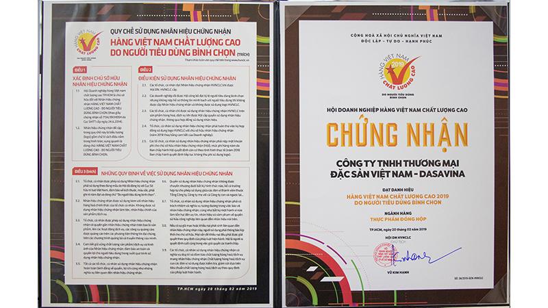Chứng nhận hàng Việt Nam chất lượng cao 2019